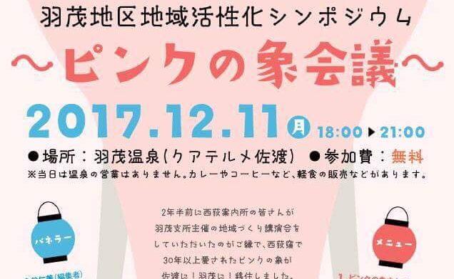 佐渡「羽茂大市」でピンクの象登場!