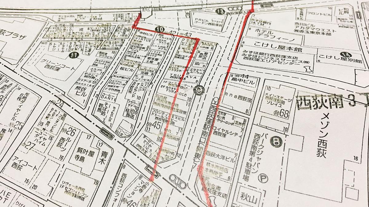西荻の道路拡張計画